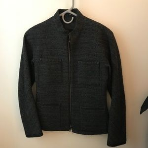 Theory jacket gray/black w/ leather lining- size 2